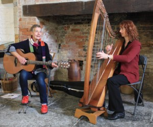 Saffron and Hazel playing at Muchelney Abbey 25 October 2014