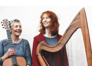 Image of Saffron & Hazel with guitar and harp